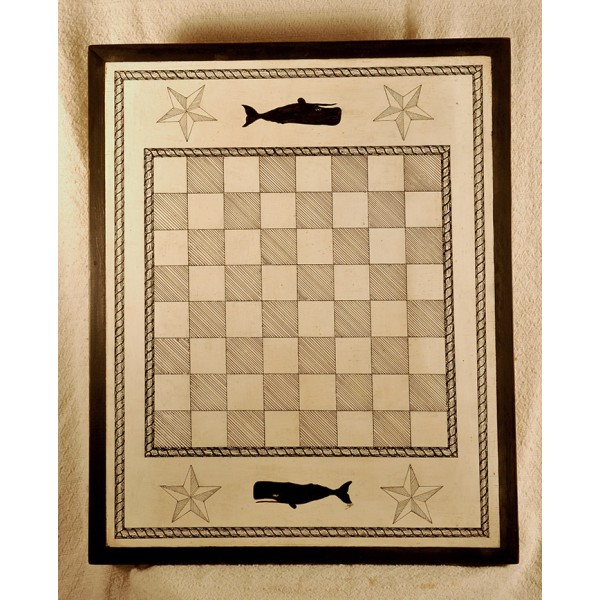 Primitive Wooden checkers/chess Game Board - 049