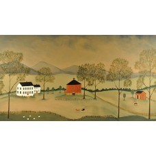 Mural with a portrait of your house - Round Barn Background