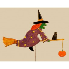 Witch with Cat and Pumpkin Weathervane - C. Munro